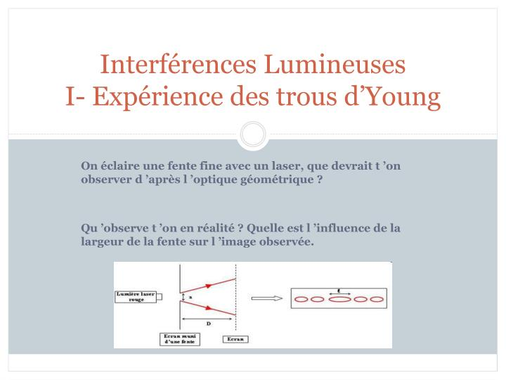 interf rences lumineuses i exp rience des trous d young n.