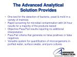the advanced analytical solution provides