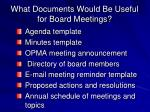 what documents would be useful for board meetings