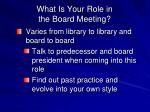 what is your role in the board meeting