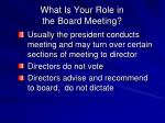 what is your role in the board meeting1