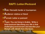 raft letter postcard