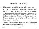 how to use scg x1