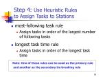 step 4 use heuristic rules to assign tasks to stations