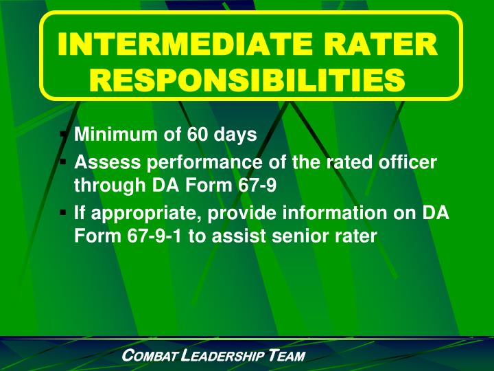 INTERMEDIATE RATER RESPONSIBILITIES