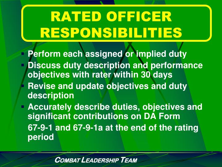 RATED OFFICER RESPONSIBILITIES