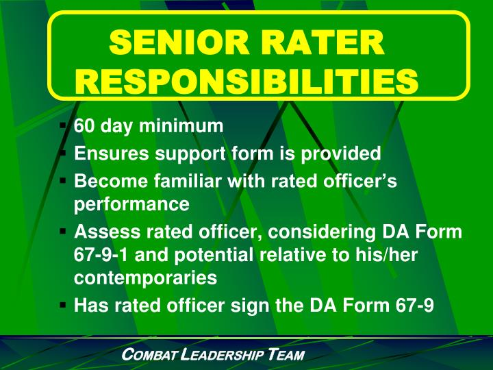 SENIOR RATER RESPONSIBILITIES