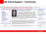 my oracle support community
