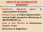areas to be covered in the workshop