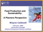 food production and sustainability a planners perspective