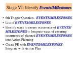 stage vi identify events milestones