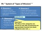 fr system of types of missions