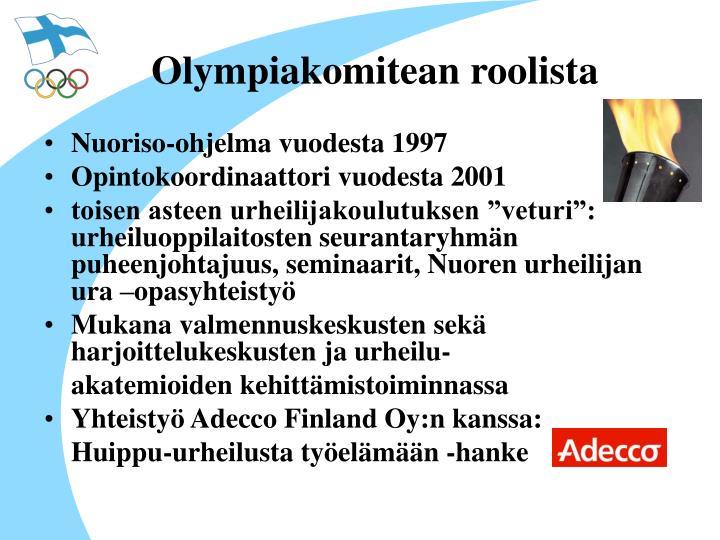 Olympiakomitean roolista