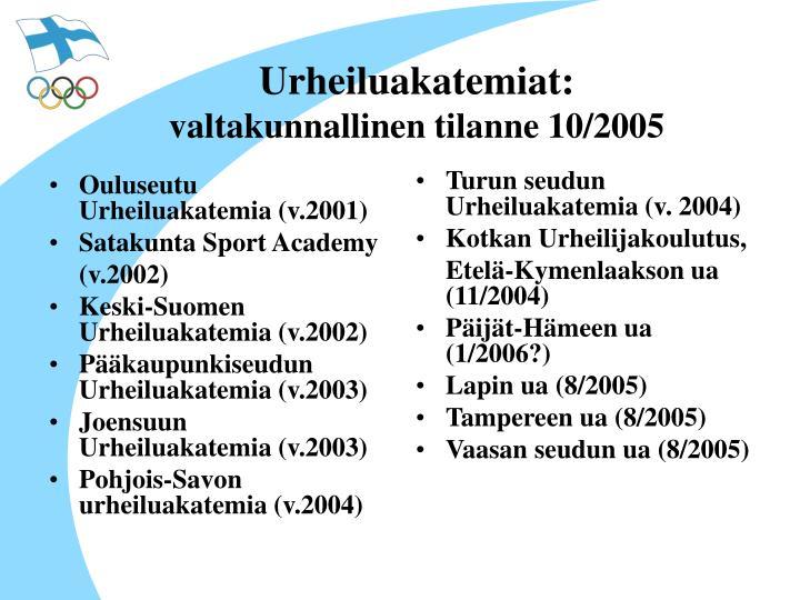 Ouluseutu Urheiluakatemia (v.2001)