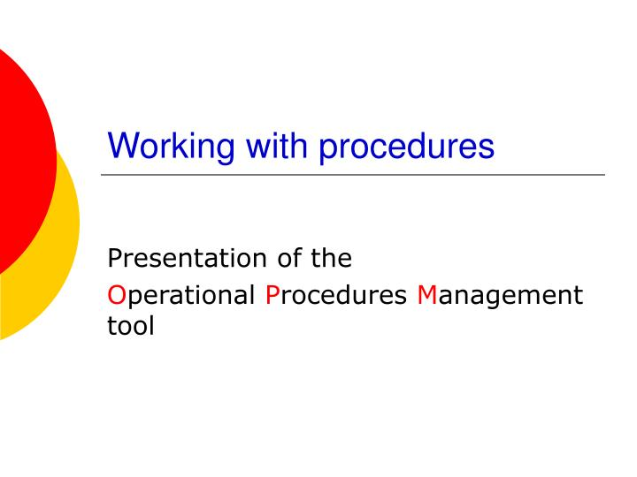 working with procedures n.