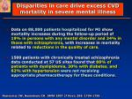 disparities in care drive excess cvd mortality in severe mental illness