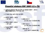 finan n alokace esf 2007 13 v r