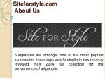 siteforstyle com about us