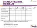 monthly financial dashboard