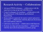 research activity collaborations