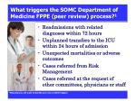 what triggers the somc department of medicine fppe peer review process 1