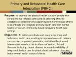 primary and behavioral health care integration pbhci