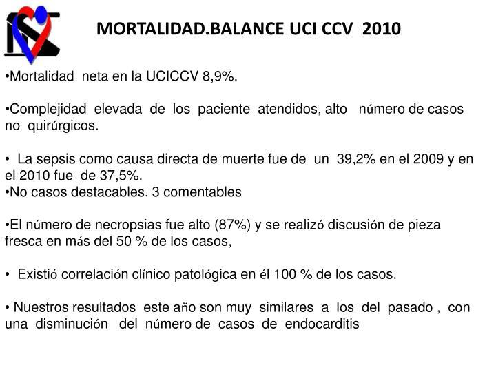 MORTALIDAD.BALANCE UCI CCV  2010