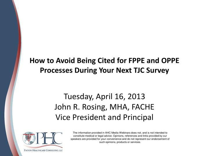 how to avoid being cited for fppe and oppe processes during your next tjc survey n.