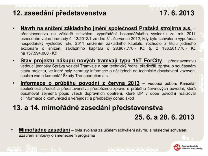12. zasedání představenstva       17. 6. 2013