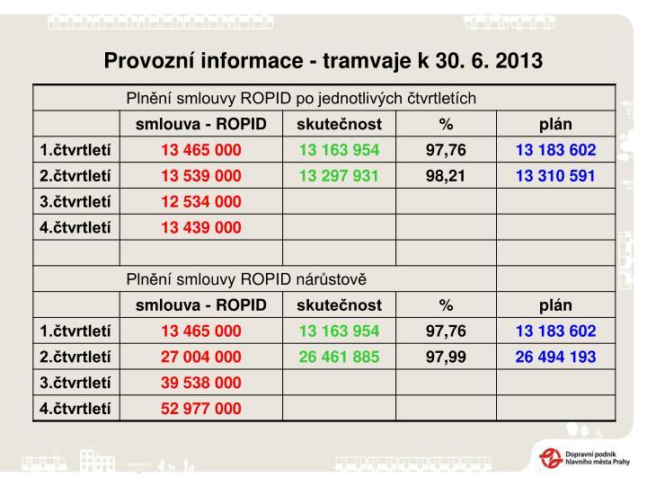Provozní informace - tramvaje k 30. 6. 2013