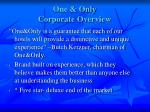 one only corporate overview