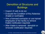 demolition of structures and buildings