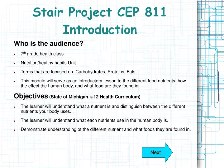stair project cep 811 introduction n.