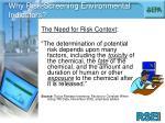 why risk screening environmental indicators