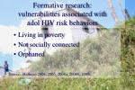 formative research vulnerabilities associated with adol hiv risk behaviors