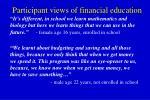 participant views of financial education