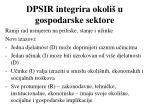 dpsir integrira okoli u gospodarske sektore