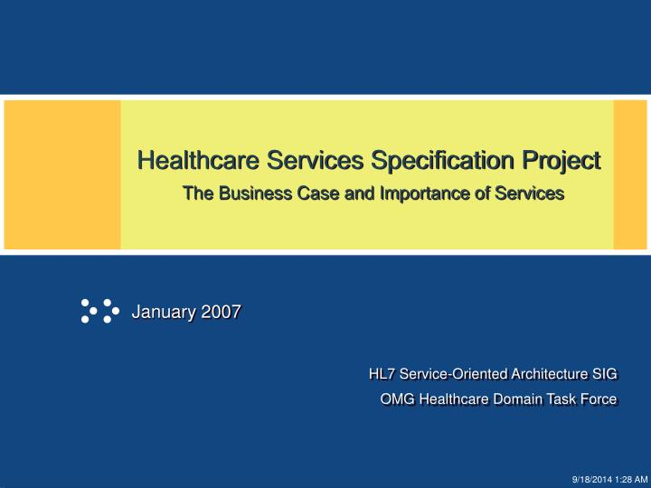 healthcare services specification project the business case and importance of services n.