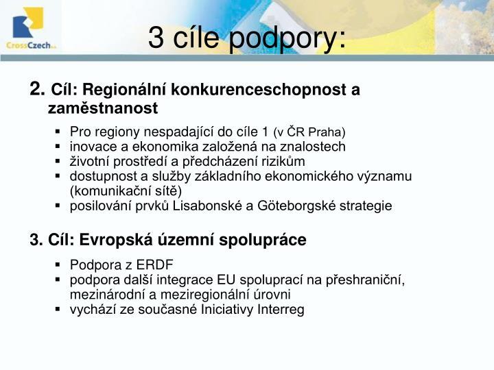 3 cíle podpory: