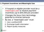 2 payment incentives and meaningful use