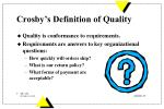 crosby s definition of quality