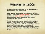 witches in 1600s