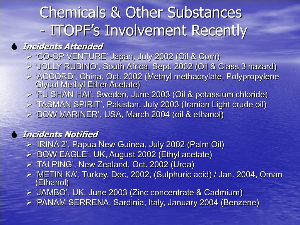 PPT - Marine chemical spill: an overview of response issues