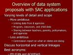 overview of data system proposals with sac applications