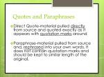 quotes and paraphrases