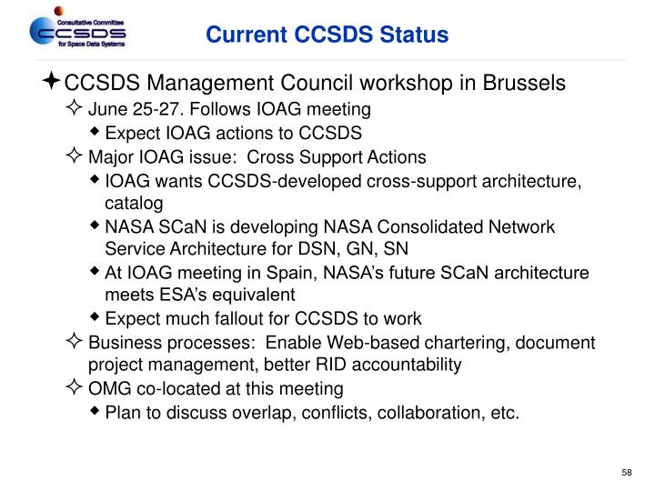 Current CCSDS Status
