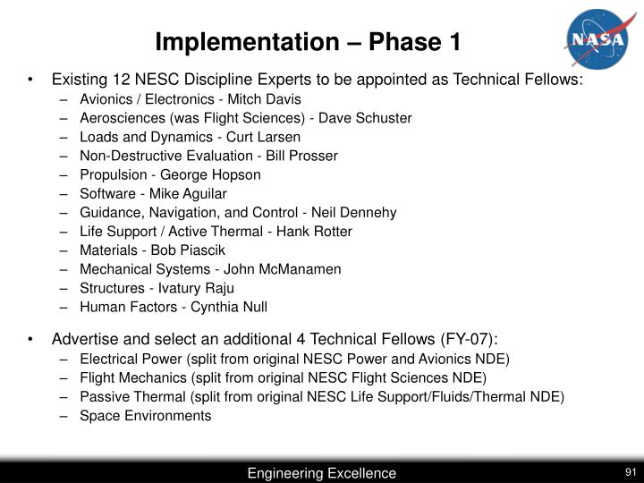 Implementation – Phase 1