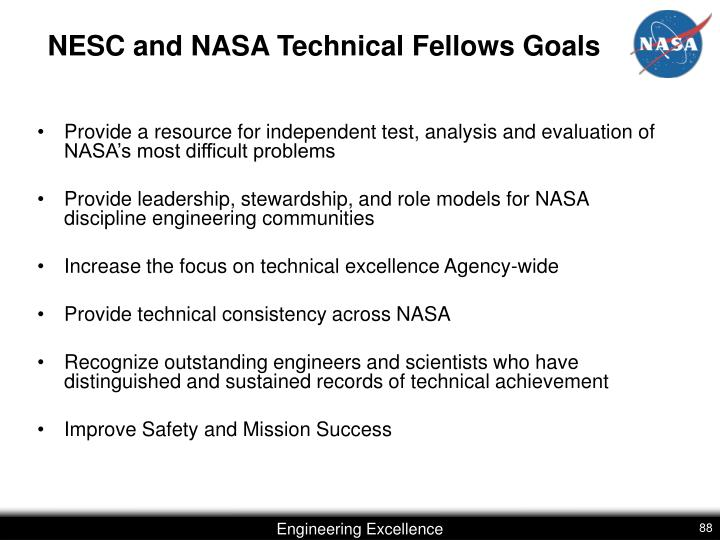 NESC and NASA Technical Fellows Goals