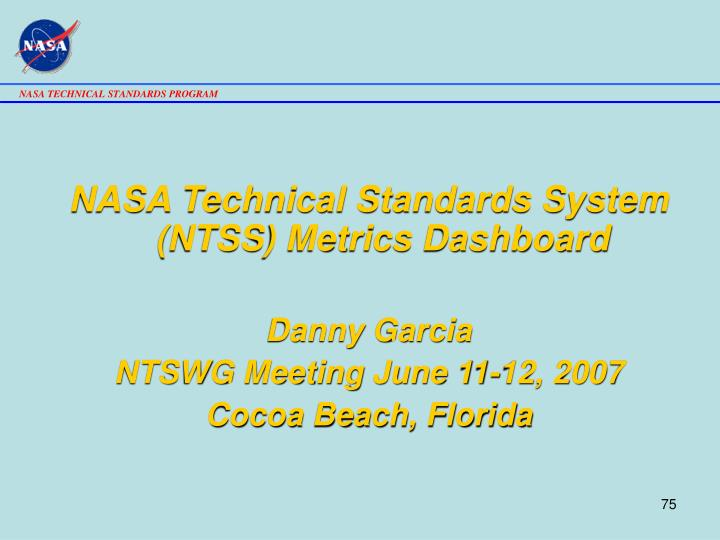 NASA Technical Standards System (NTSS) Metrics Dashboard
