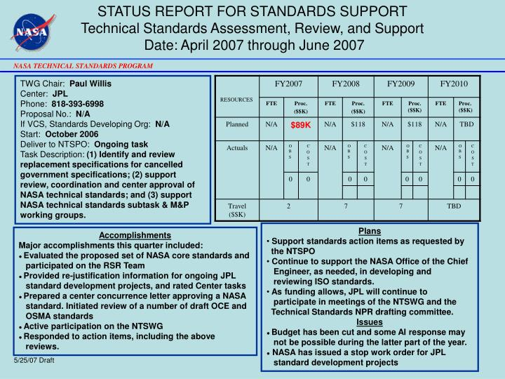 STATUS REPORT FOR STANDARDS SUPPORT